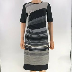 julian taylor new york dress ruched side striped 6